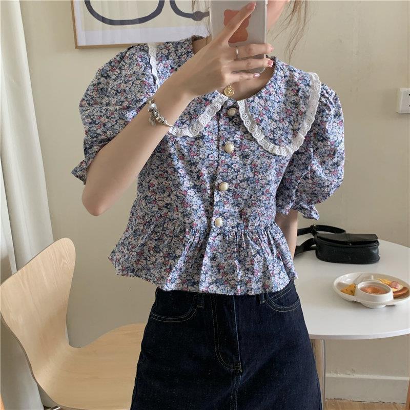 Chemise rétro florale Femme manche courte 2021 chics filles à la taille haute chic de chic doux tous match stylish neufs blouses lâches