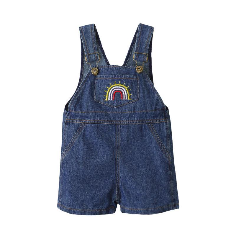 2021 Новая мода малыша дети девочка без рукавов ремешок без рукавов джинсовая общая ползунка джемпер случайные брюки летняя одежда