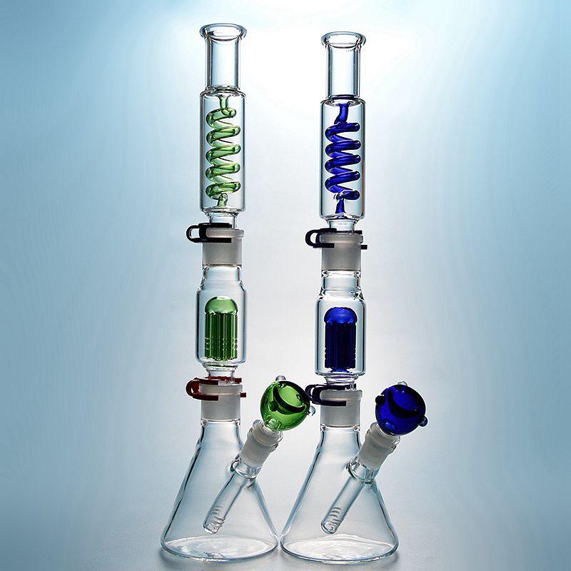 Único Hookahs Beaker Glass Bongs 6 braços Árvore de armas Freezable Oil Dab Rig Rig Rigenser Coil Buil Um Bong Dab Rigs Tubo de água de vidro com downstem difuso