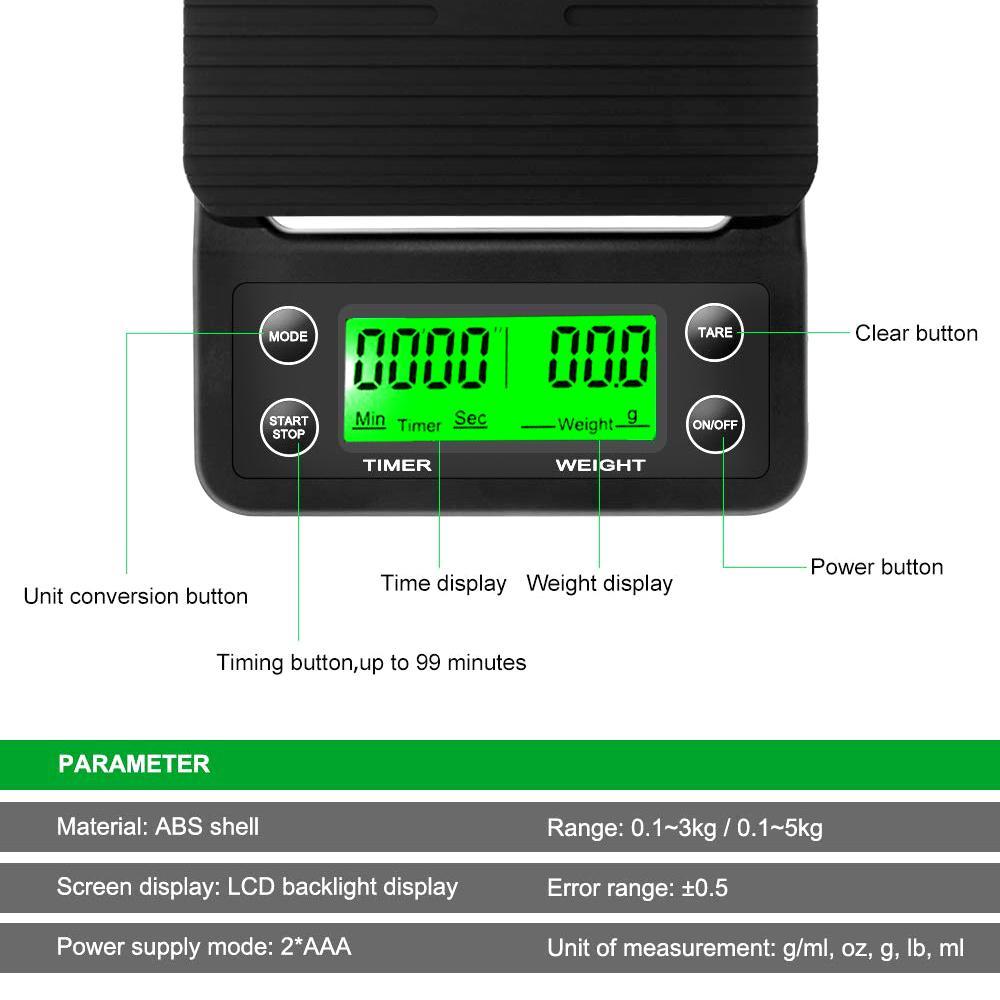 Scala da 5 kg da 3 kg con timer Portatile elettronico Digital Bilancia da cucina Alta precisione LCD Drip Bilance elettroniche