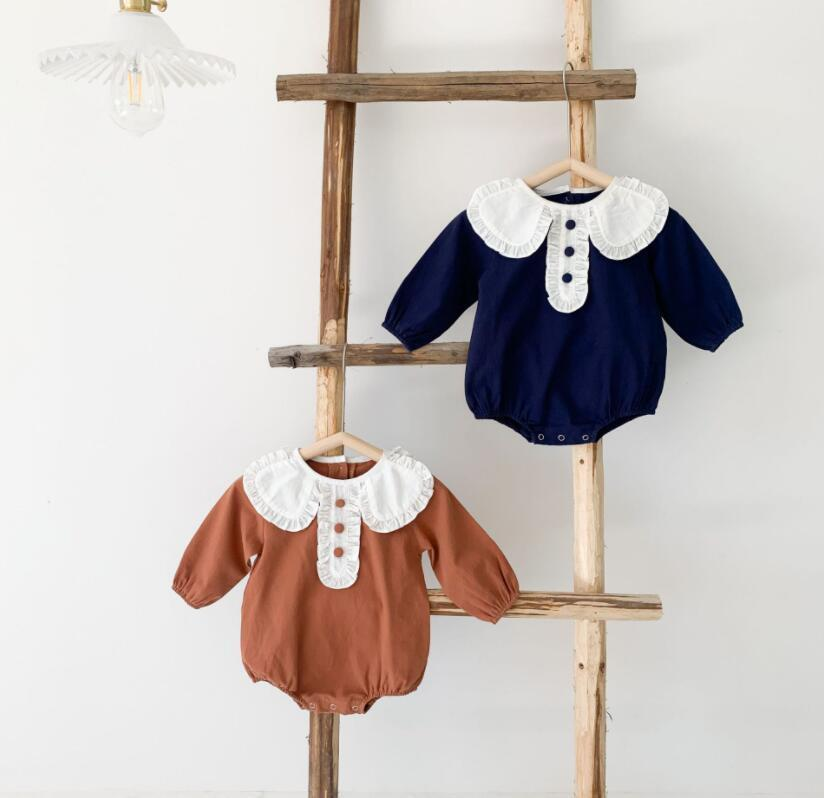 Ins in baby дети весна осень с длинным рукавом взбираясь ползунок сплошной цвет девушки ползунки peat pan воротник ребенок мягкие удобные коммутаторы 0-2т