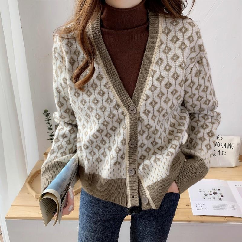 2021 Новый ретро бриллиант V-образным вырезом вязаный кардиган женский осень и зимний корейский стиль ленивый темперамент контрастный свитер пальто HK8U TKKG
