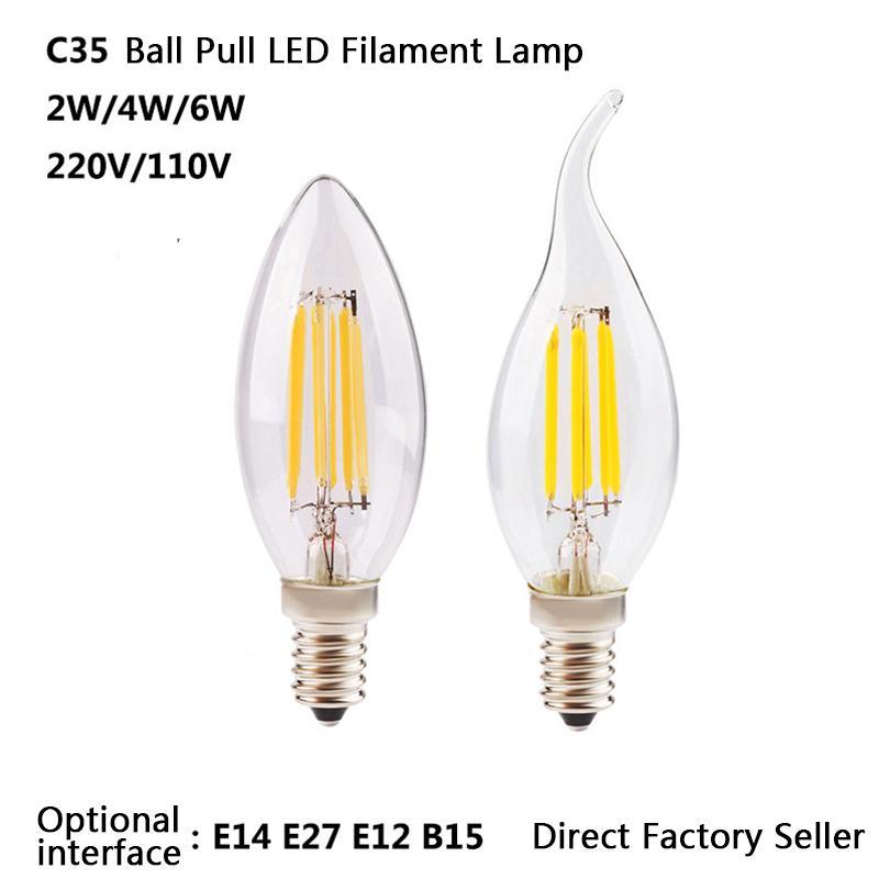 LED 전구 필라멘트 램프 촛불 조명 2 4 6W C35 시리즈 E12 E14 AC85 ~ 265V 크리스탈 조명 전구 샹들리에를위한 맑은 유리 펜던트 바닥 빛