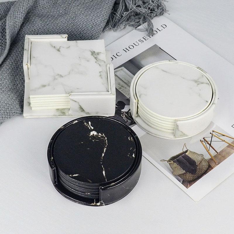 Творческий мраморный искусственная кожа кожа кофе чашки кофейной чашки коврик для столовой столовая столовая столовая черная белая шикарная отделка 6 шт.