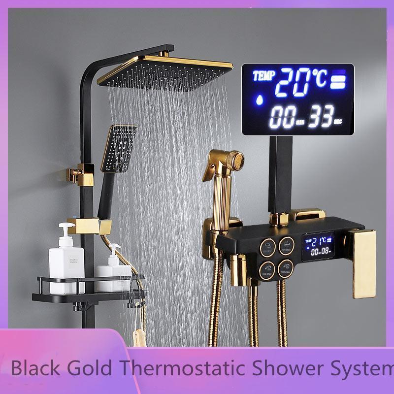 Luxury Digital Rainfall Shower 세트 블랙 골드 온도 조절 샤워 시스템 비데 스프레이 어 브래스 경감 님 수도꼭지