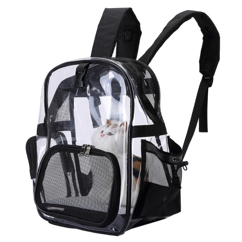 Dog Car Seat Covers Portable Outdoor Transparent Backpack Space Shoulder Bag Air Permeable For Pet Cat (Black)