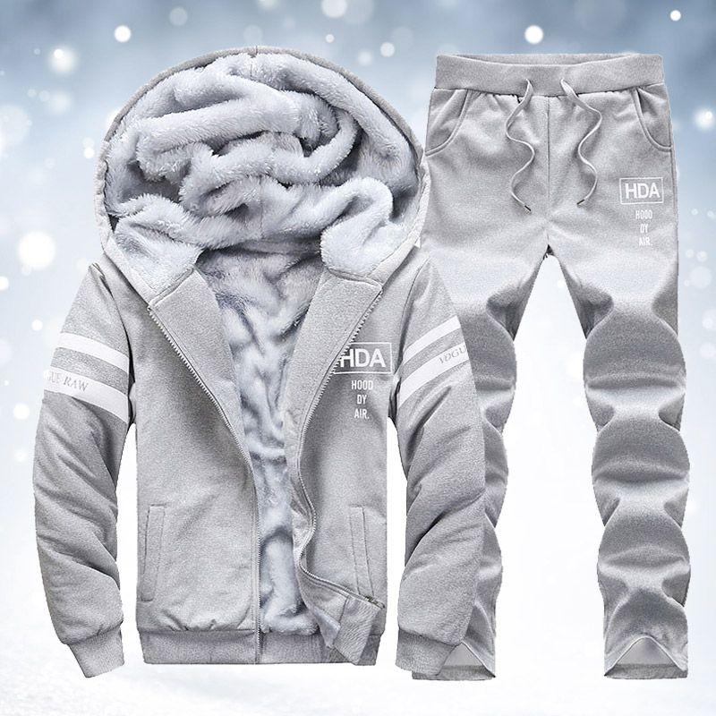 겨울 따뜻한 망 트랙 정장 세트 양털 줄 지어 까마귀와 스웨트 팬츠 두꺼운 망 Tracksuit 옴므 까마귀 자켓 복장