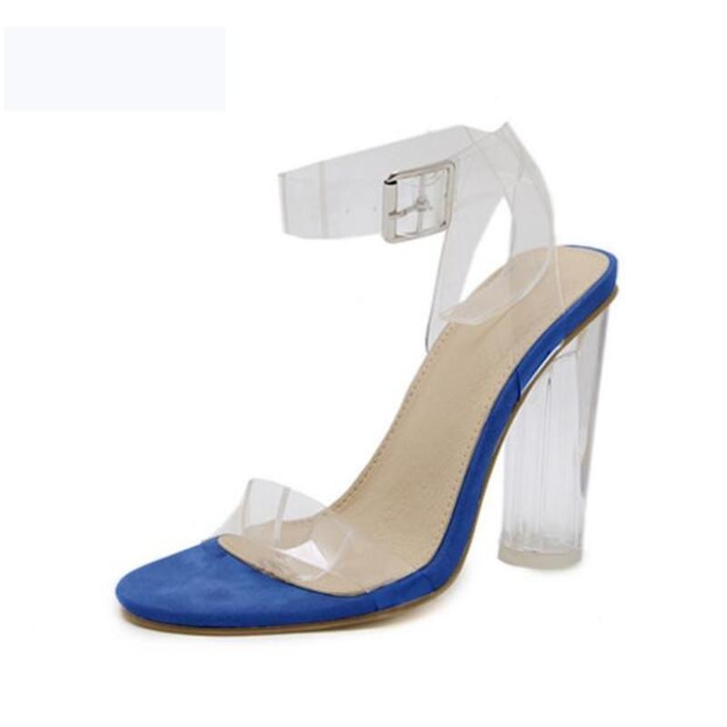 2021 Обувь Женщины Мода Прозрачные Сандалии Лодыжки Высокие каблуки Блок Партия Открытые Новые Обувь Горячие Продажи Сандалия Летняя Феминина