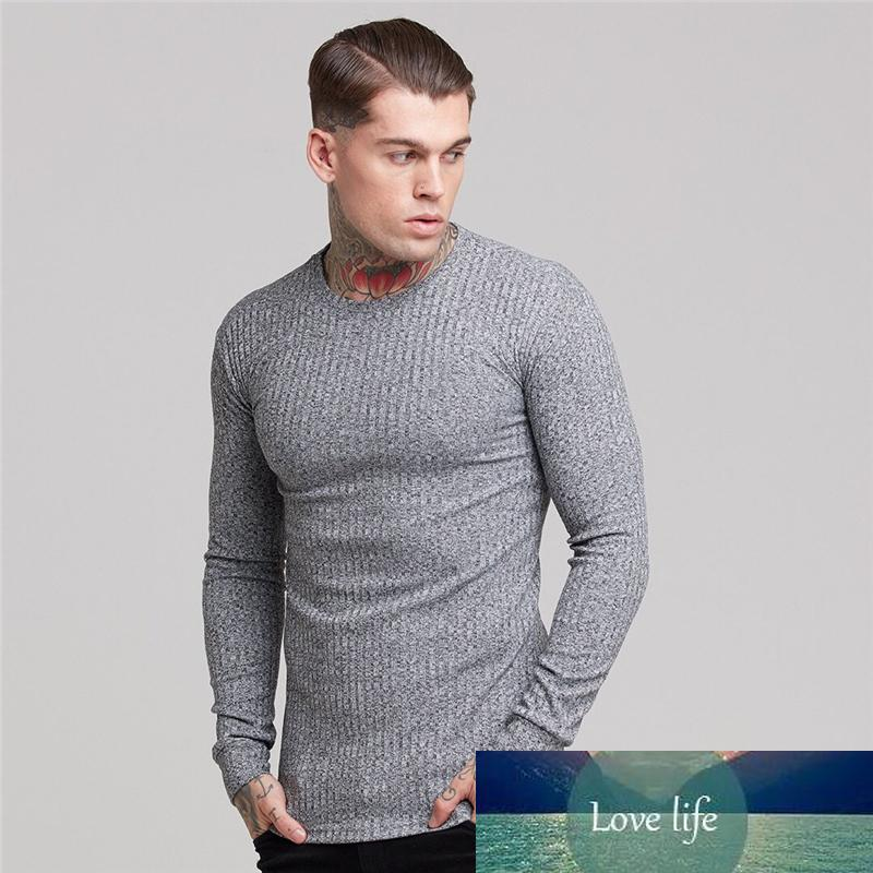 Muscleguys New Autumn Mens T shirt Thin Pullover Sweaters Solid Casual O Neck Long sleeve Knitwear Top Male M-2XL