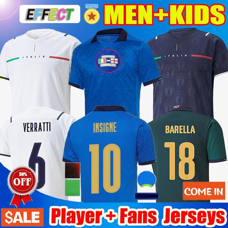 2020 2021 Italy Soccer Jerseys BARELLA SENSI INSIGNE Fußballtrikot 20 21 CHIELLINI BELOTTI Italien Maglie da calcio BERNARDESCHI FUSSBALLHEMDEN Männer Kinder