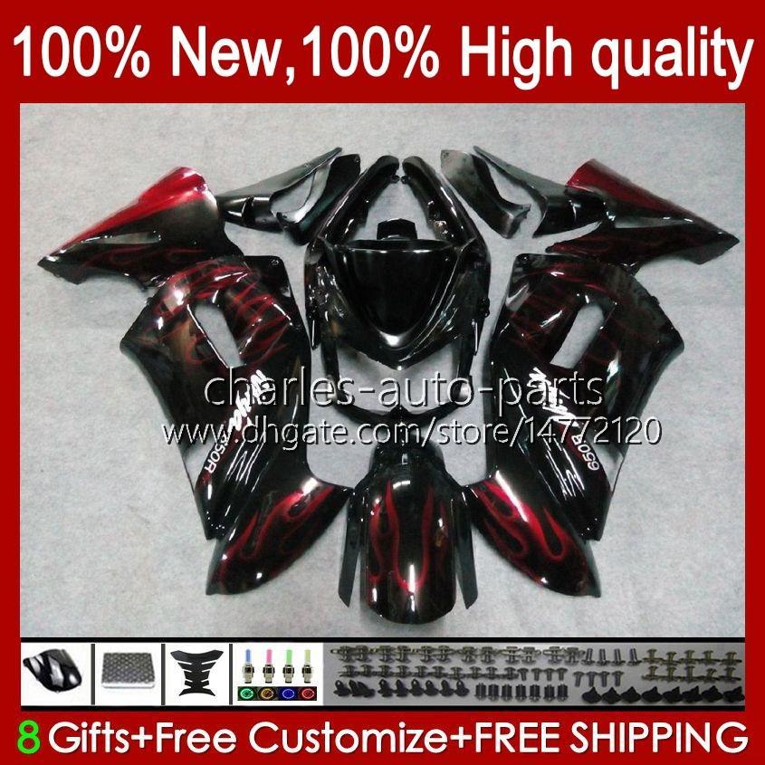 Kit di carenatura per Kawasaki Ninja 650R ER 6F ER 6 F ER6F-650R 29HC.9 Fiamme rosse Nuova ER6 F 650 R ER6F 06 07 08 ER-6F 2006 2007 2008 Full Body