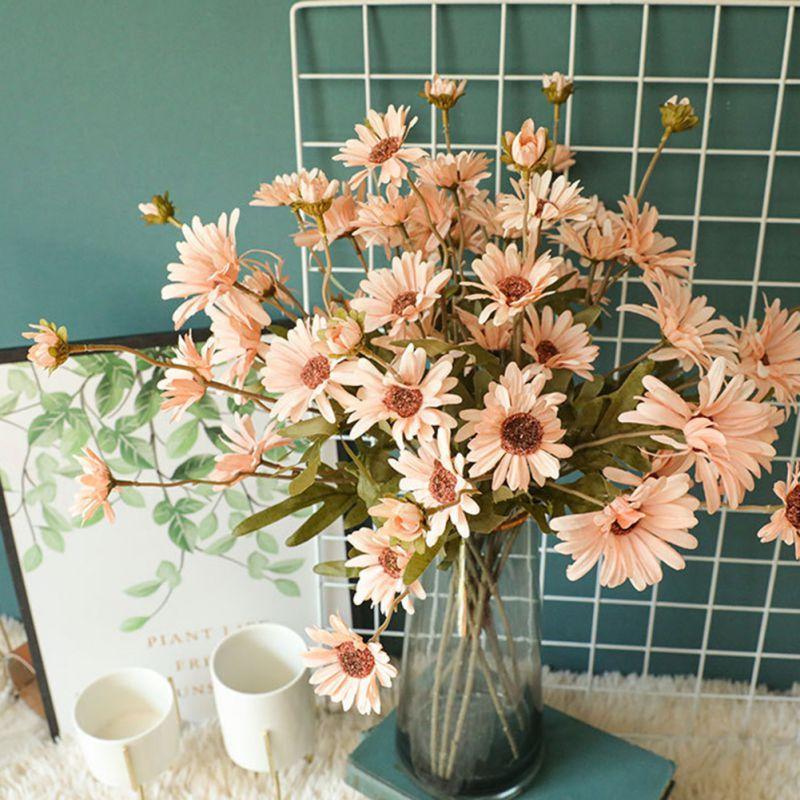 Piante artificiali Chrysanthemum Patio Indoor Outdoor House Office Decor Tavolo da sposa Fiori Disposizione Bouquet Decorazioni per la casa