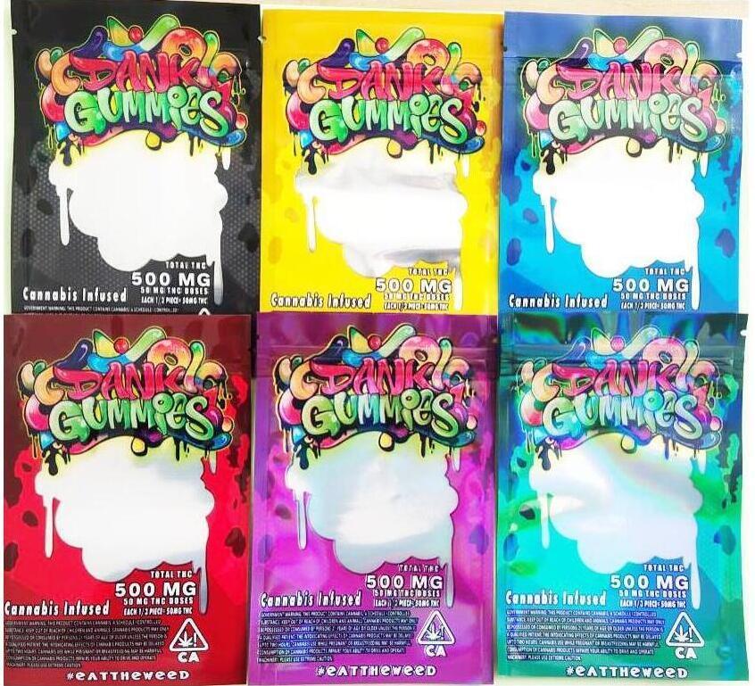 Nuevo Holograma Dank Gommies Bolsas 500mg 500mg Dank Gummies Gomy Mylar Bag EDIBLES Paquete Bolsa Gummana