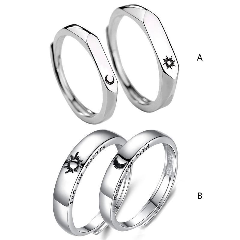 Обручальные кольца 1 пару солнечных лунных влюбленных набор Валентина День Святого Валентина Подарки Пара обещания группы мужчин женские украшения