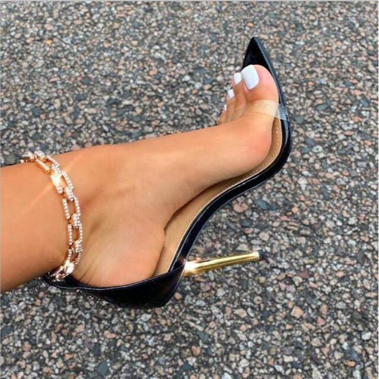 Горячая распродажа - кристалл цепные насосы горный хрусталь цепные насосы женщин заостренные носки металлические каблуки каблуки сандалии на высоких каблуках летняя вечеринка обувь