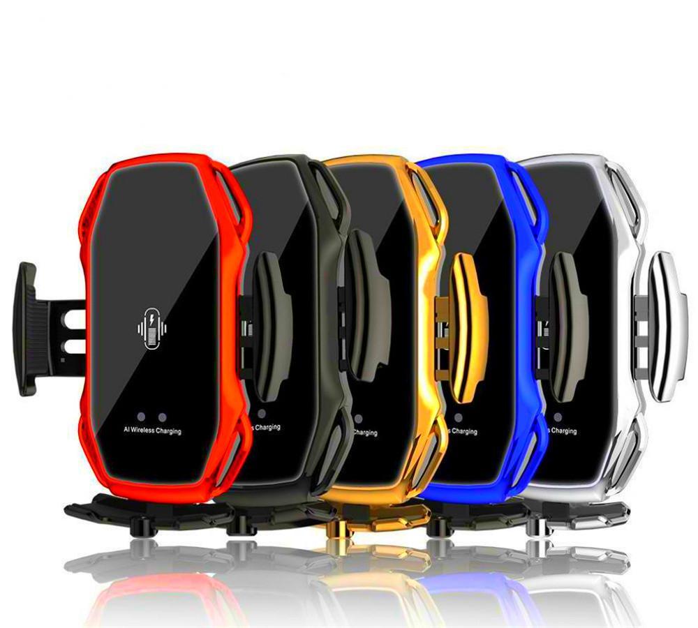 A5 10W 무선 자동차 충전기 자동 클램핑 빠른 충전기 전화 홀더 마운트 아이폰 X XR 11 12 Pro Max Samsung 상자