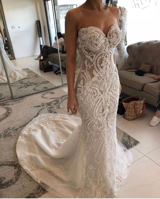 2021 Dantel Arapça ASO EBI Gelinlik Boncuk Mermaid Sevgiliye Gelinlikler Kolsuz Zip Geri Açık Muhteşem Evlilik Abiye ZY469