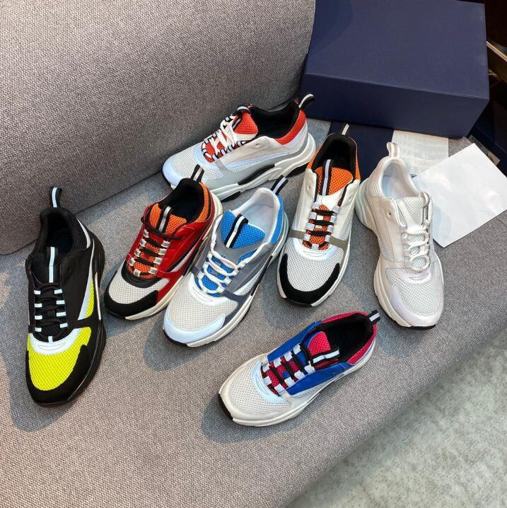 2021 Designer B22 Sapatos Branco Couro Calfskin Sapato Técnico Técnico Malha Mulheres Plataforma Sneakers Blue Cinza Designers Sneaker com Caixa