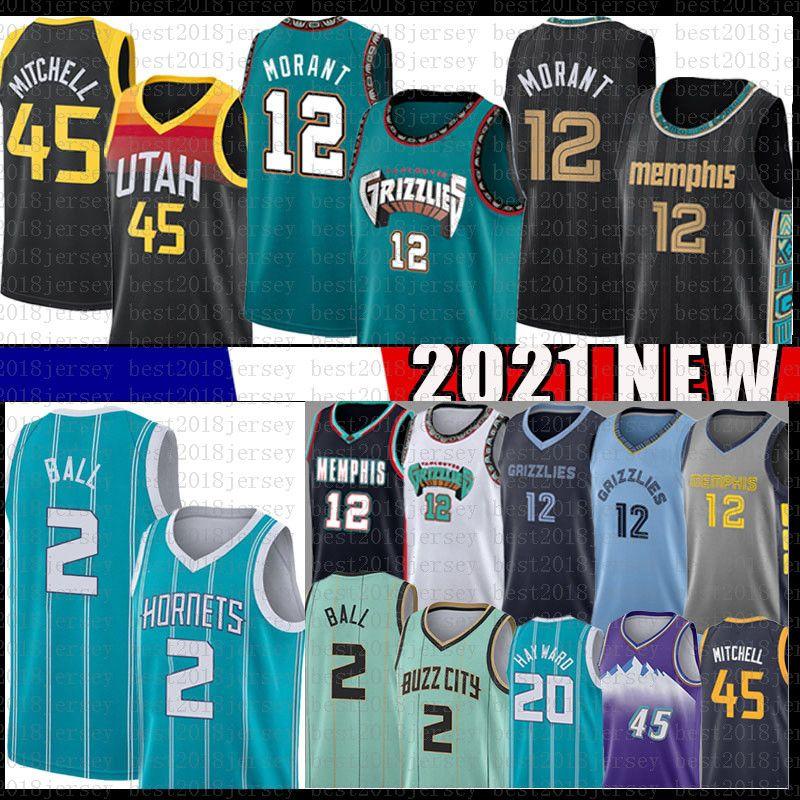 JA 12 Morant Lamelo 2 Ball Donovan 45 Mitchell Hayward Basketbol Jersey UtahCazMemphisGrizmaCharlotteHornets