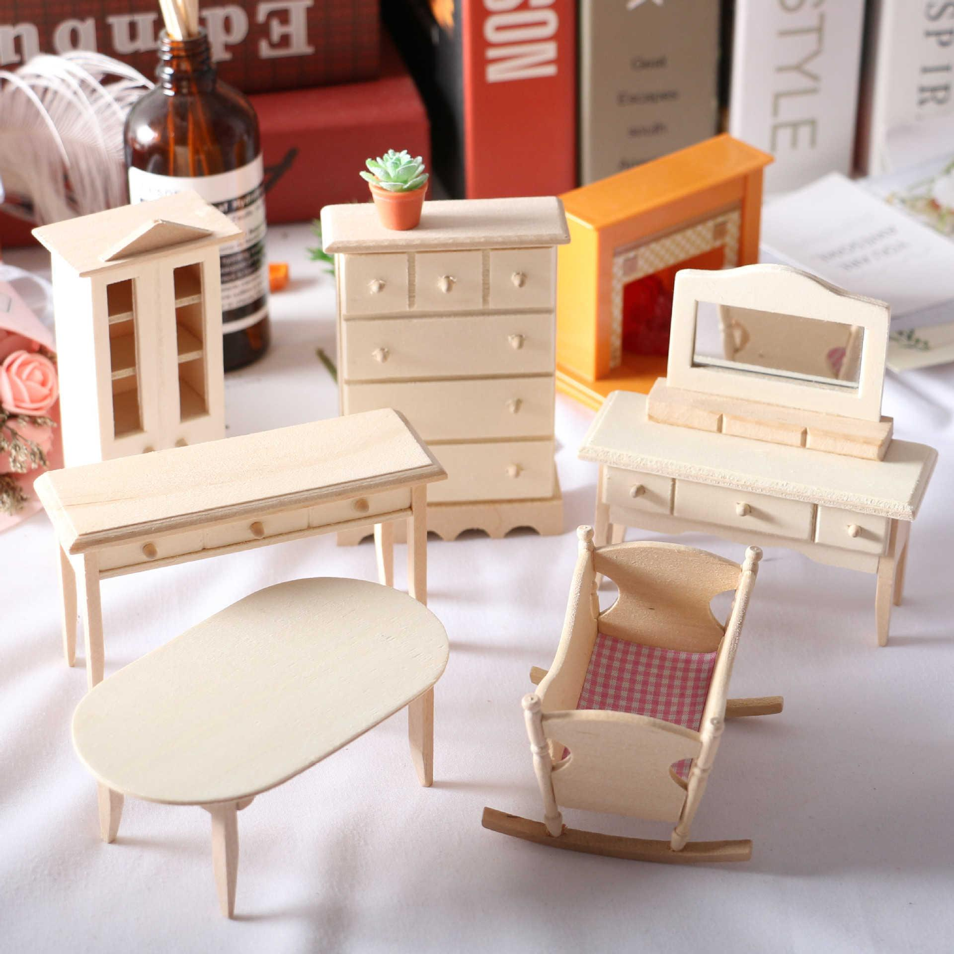Doll mini solid wood furniture cradle crib dining table cabinet small cloth doll house BJD toys