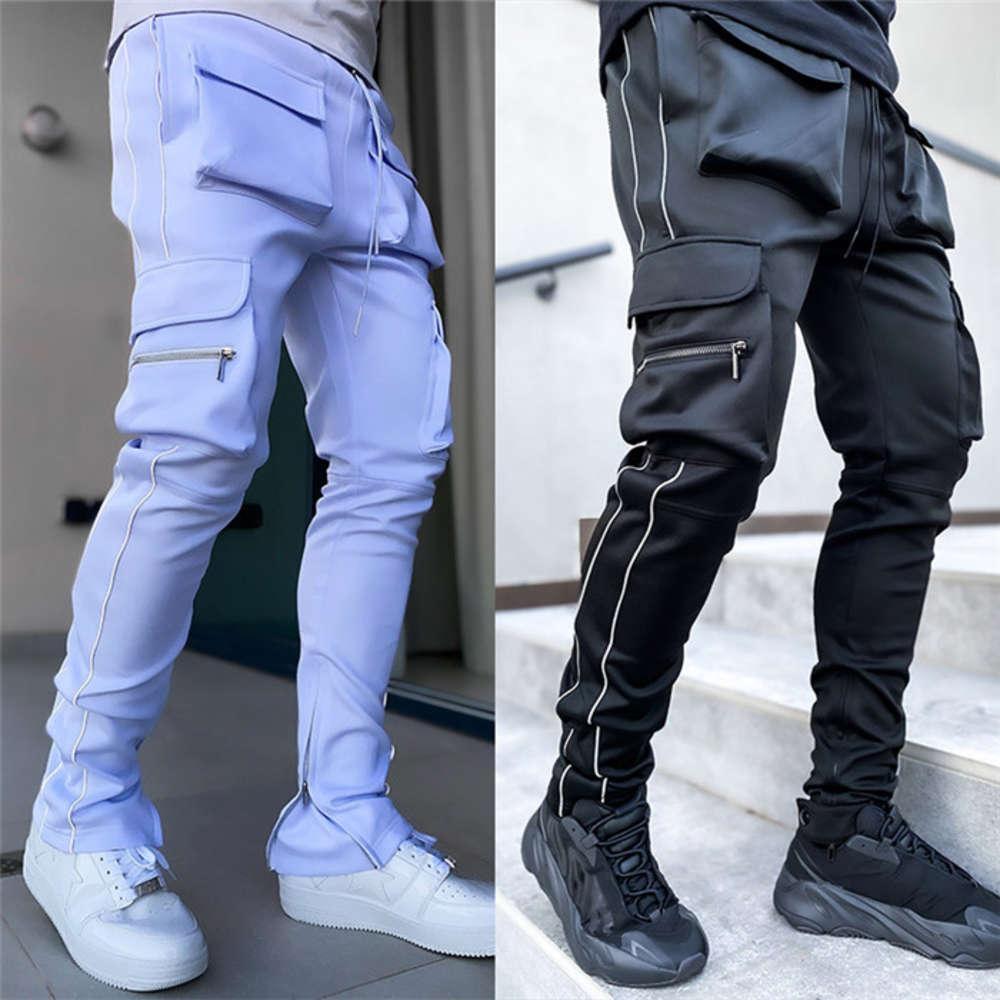 Plus Size Cargo Pants Mens Loose Casual Hip Hop Pencil Pants With Pockets Fashion Patchwrok Skateboard Men Sports Trousers