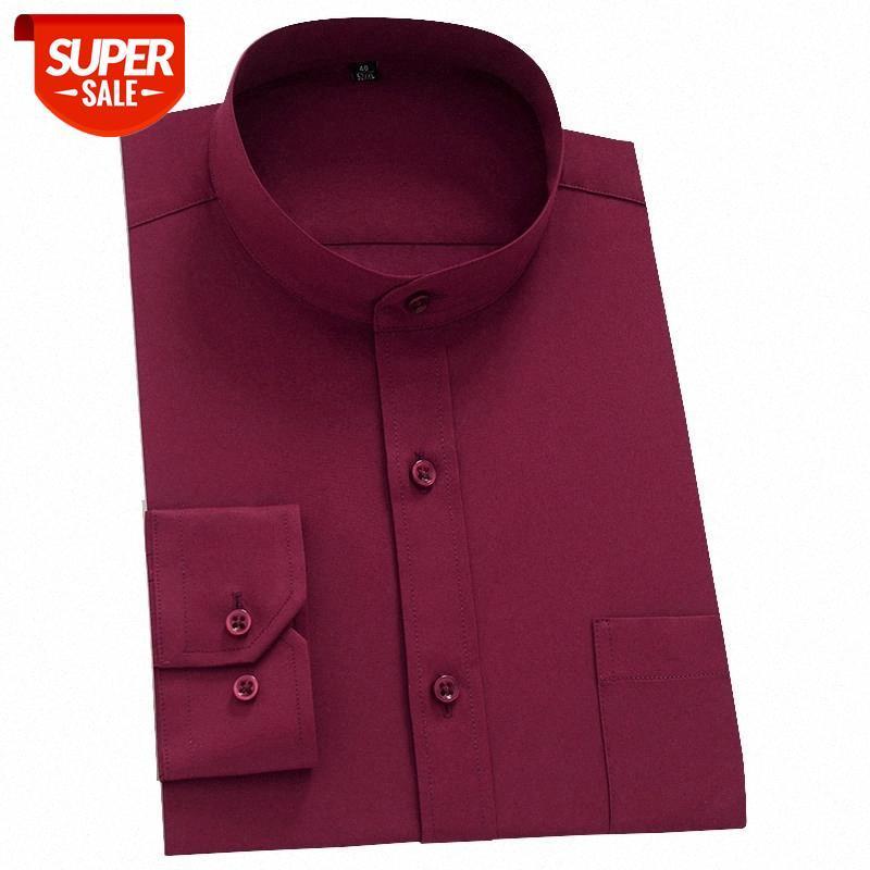 Мандарин воротник сплошных социальных рубашек для мужчин с длинным рукавом бизнес рубашки мансовры старинные равнины красный черный белый с передним карманом # VU9s
