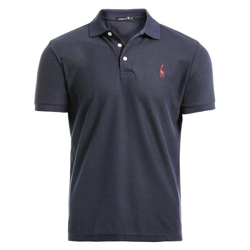 Negizber Yeni Adam Polo Gömlek Erkek Rahat Geyik Nakış Pamuk Polo Gömlek Erkekler Kısa Kollu Yüksek Miktar Polo Erkekler 210306