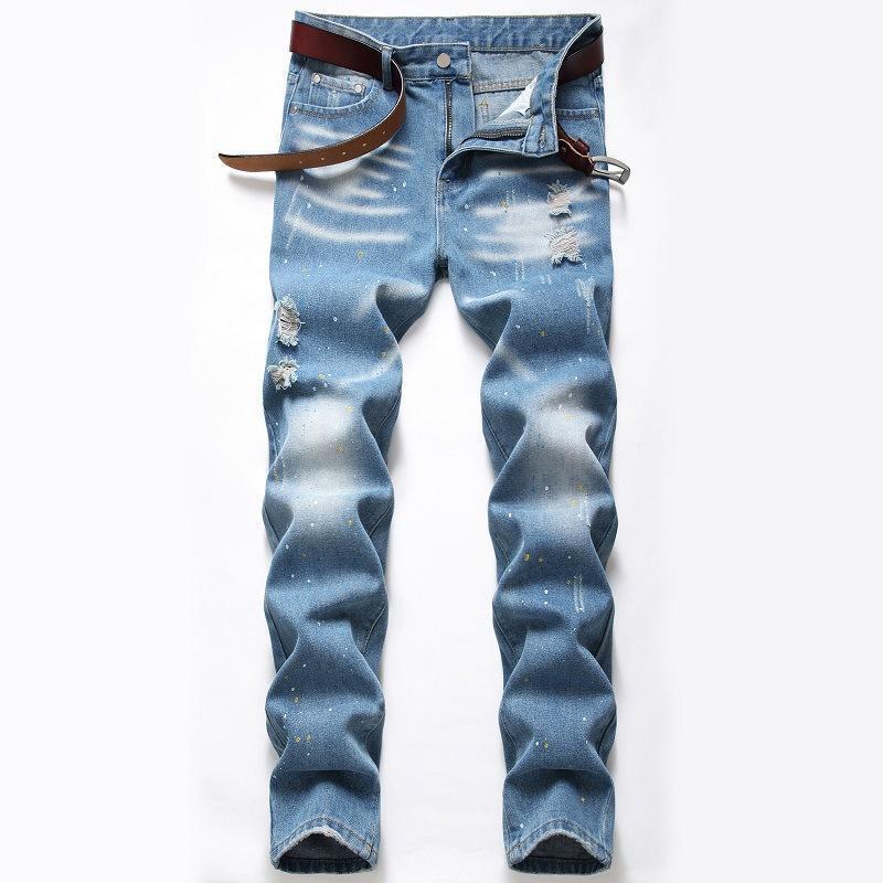 Мужские плюс размер новая мода всплеск чернил джинсы светло-голубые разорванные тренд брюки уличная одежда joggers повседневная одежда молодой