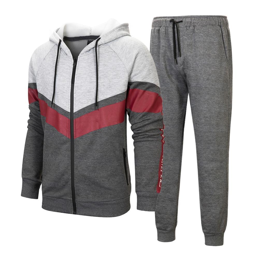 Осень зима Новая мода мужчина повседневная твердая трексуивка на молнии тудисты набор 2 штуки с капюшоном + брюки устанавливают мужчины кг-52