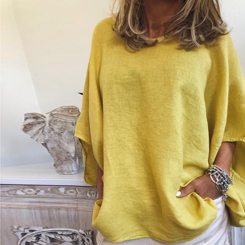 Летняя мода льняной фонарь рукав блузка повседневные дамы о шеи свободные тройники женские женские половина рукавов рубашка рубашки Blusas Pullover