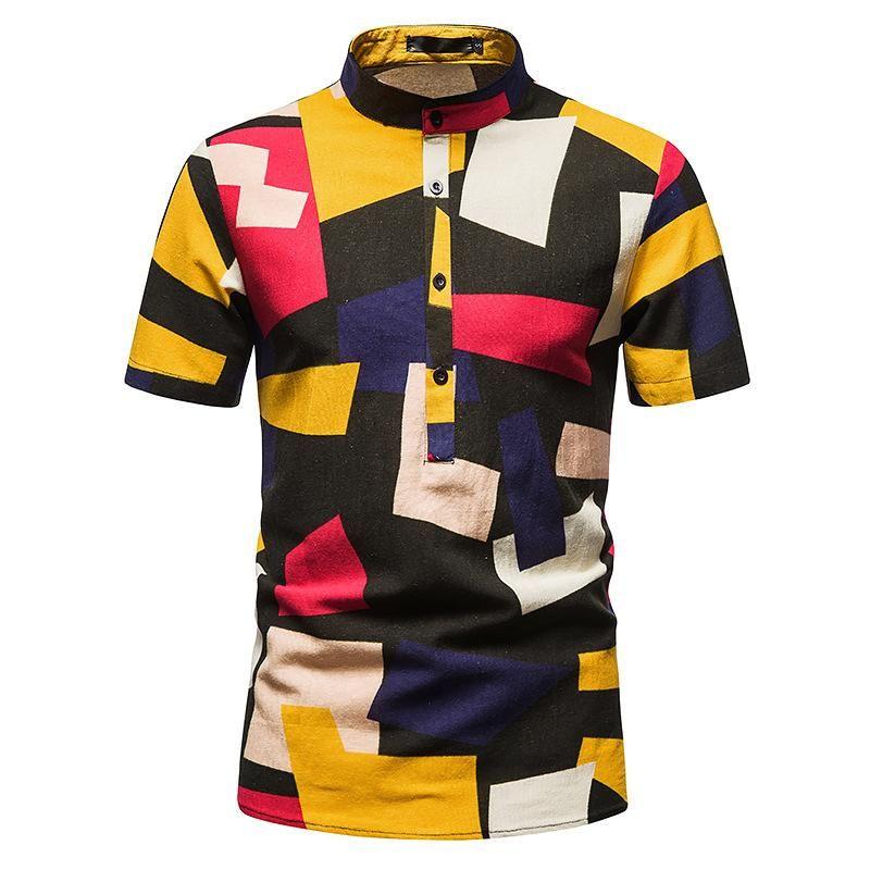 Erkek Casual Gömlek 2021 Hawaii Gömlek Erkekler Baskı Kısa Kol Düğme Moda Plaj Çiçek Bluzlar