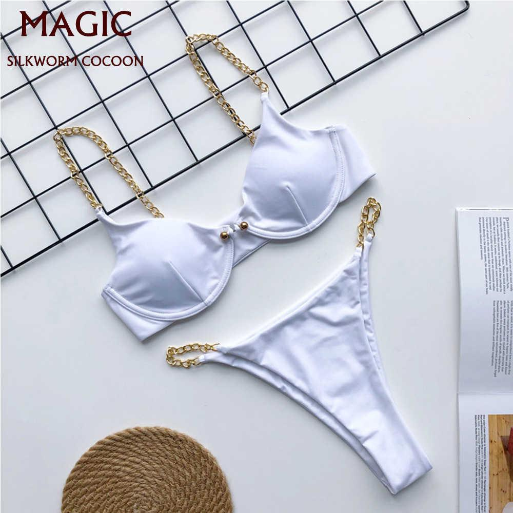 Sexy Micro Bikini Set Matching Cadena Thong Bañador Brasileño Mujer Blanco Push Up Swimwear Mujeres Baño Bañador BestiNi Bañadores