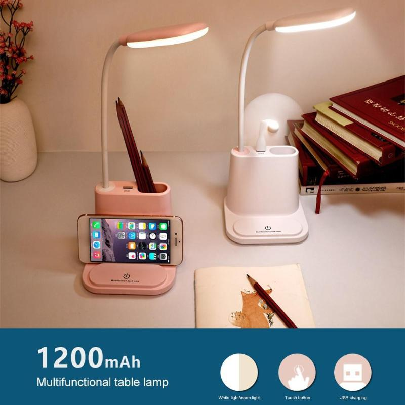 Table Lamps Modern Desk Lamp USB Rechargeable LED Touch Control Dimmable Reading Light With Cooling Fan/Pen Holder
