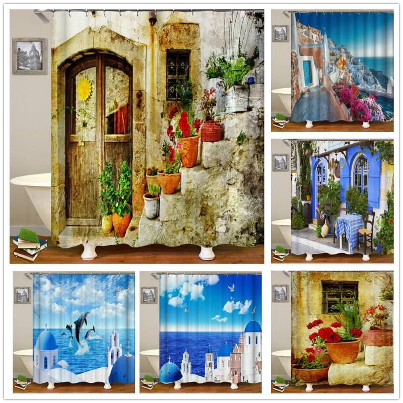 Shower Curtains Rural Idyllic Flowers European Garden Curtain Bathroom Waterproof 3d Printed Bath With 12 Hooks Polyester Cloth