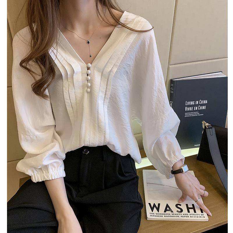 2021 Primavera y otoño Nuevo diseño coreano Camisa de manga de linterna suelta luz de color sólido de color blusa de camisa de color
