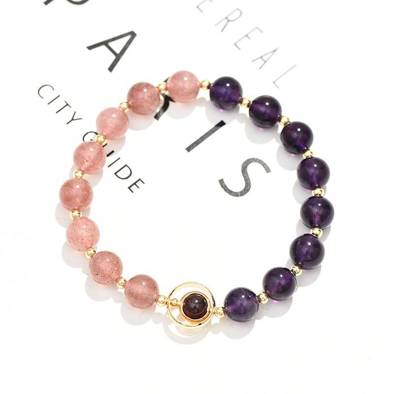 Бисером, пряди натуральный клубника хрустальный аметист браслет для женщин модный дизайн персик Blossom удачи не исчезает