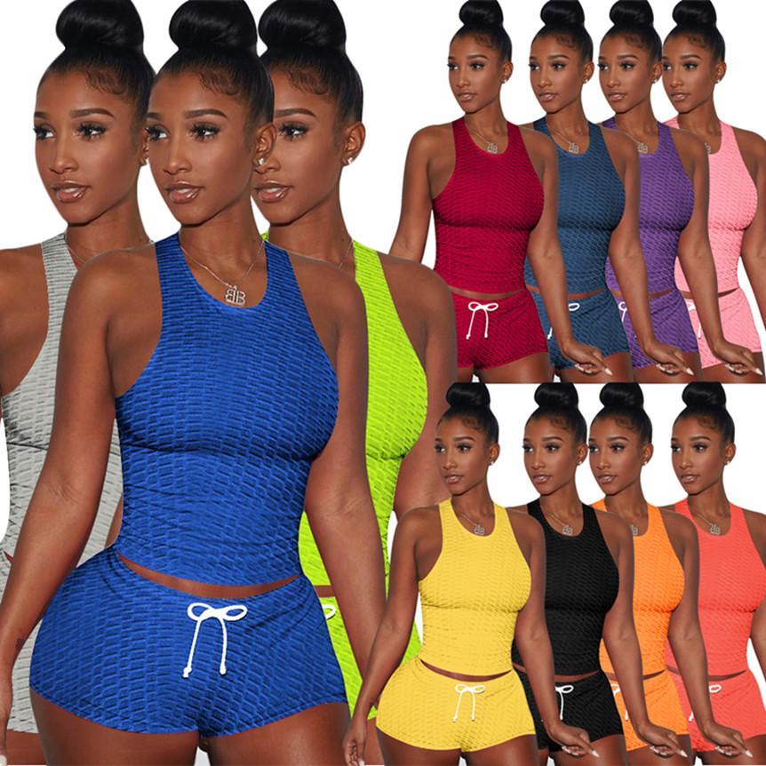 XS-3XL Frauen plus Größe Outfits Massive Farbe Schweißanzug Sexy Zwei Teile Sets Sleeveless T-Shirt + Mini Shorts Sommersport Jogger Anzug 4539