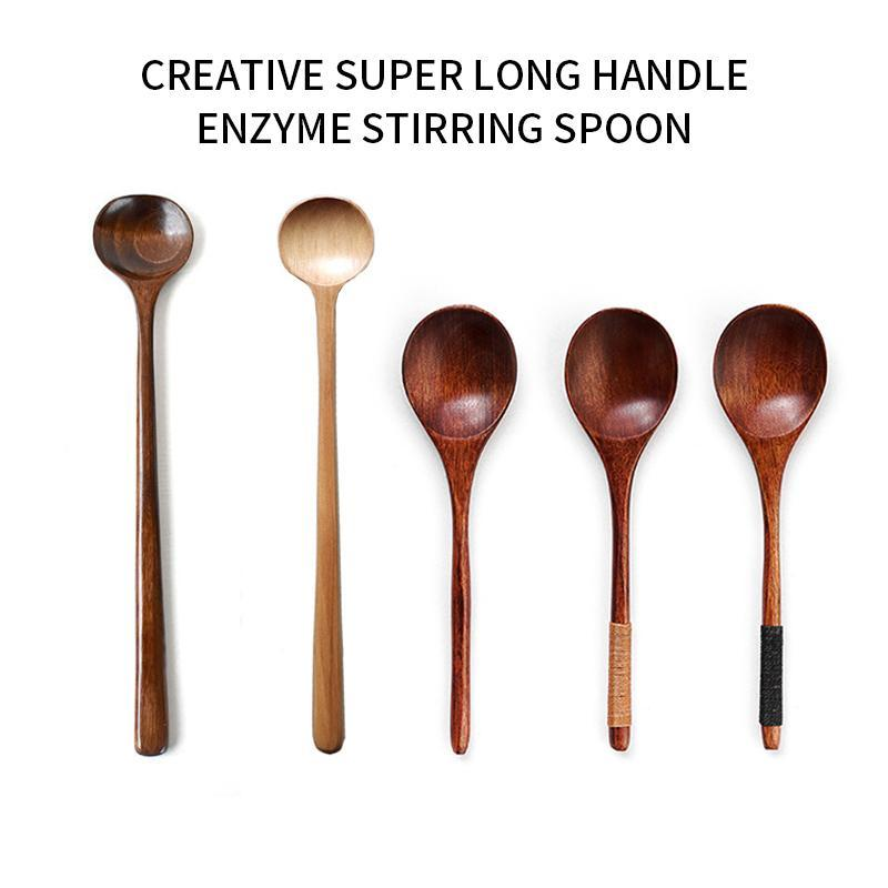 Spoons Long Handle Wooden Korean Style Natural Wood Round For Soup Cooking Mixing Stirring Kitchen Spoons^1