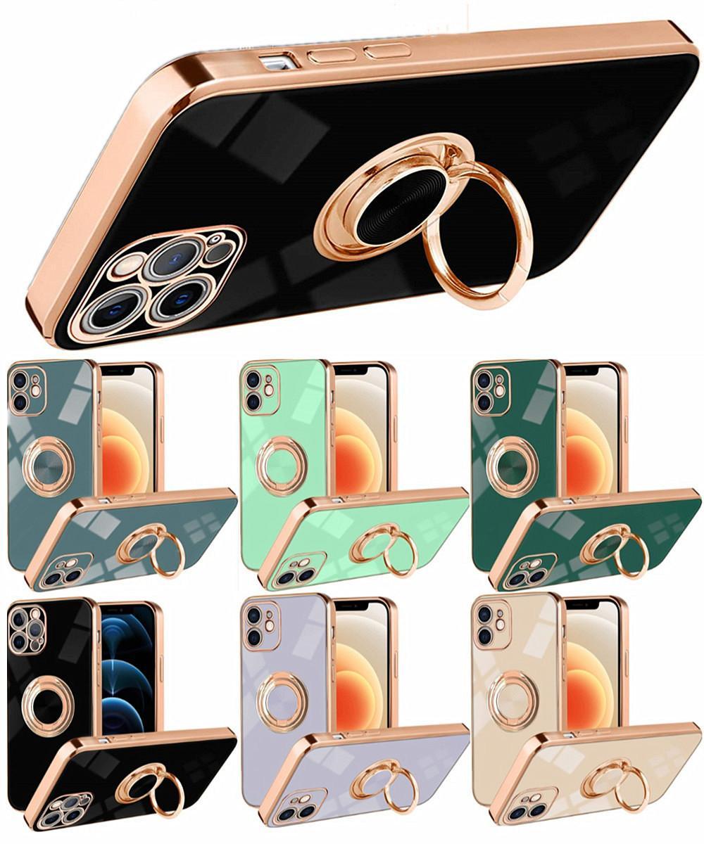 GELİŞTİRME Yumuşak TPU Case Parmak Yüzük Tutucu Ile Standı Iphone 6 7 8 11 12 x XR Pro Max Samsung S10 S20