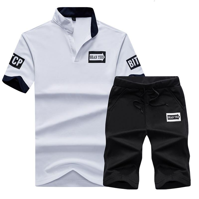 2021 Neue 2 Stück Sportart Mode Print Sommer T-Shirts Männer Set Trainingsanzug Tops Slim Tshirts Herren Baumwolle Beiläufige große DI2X