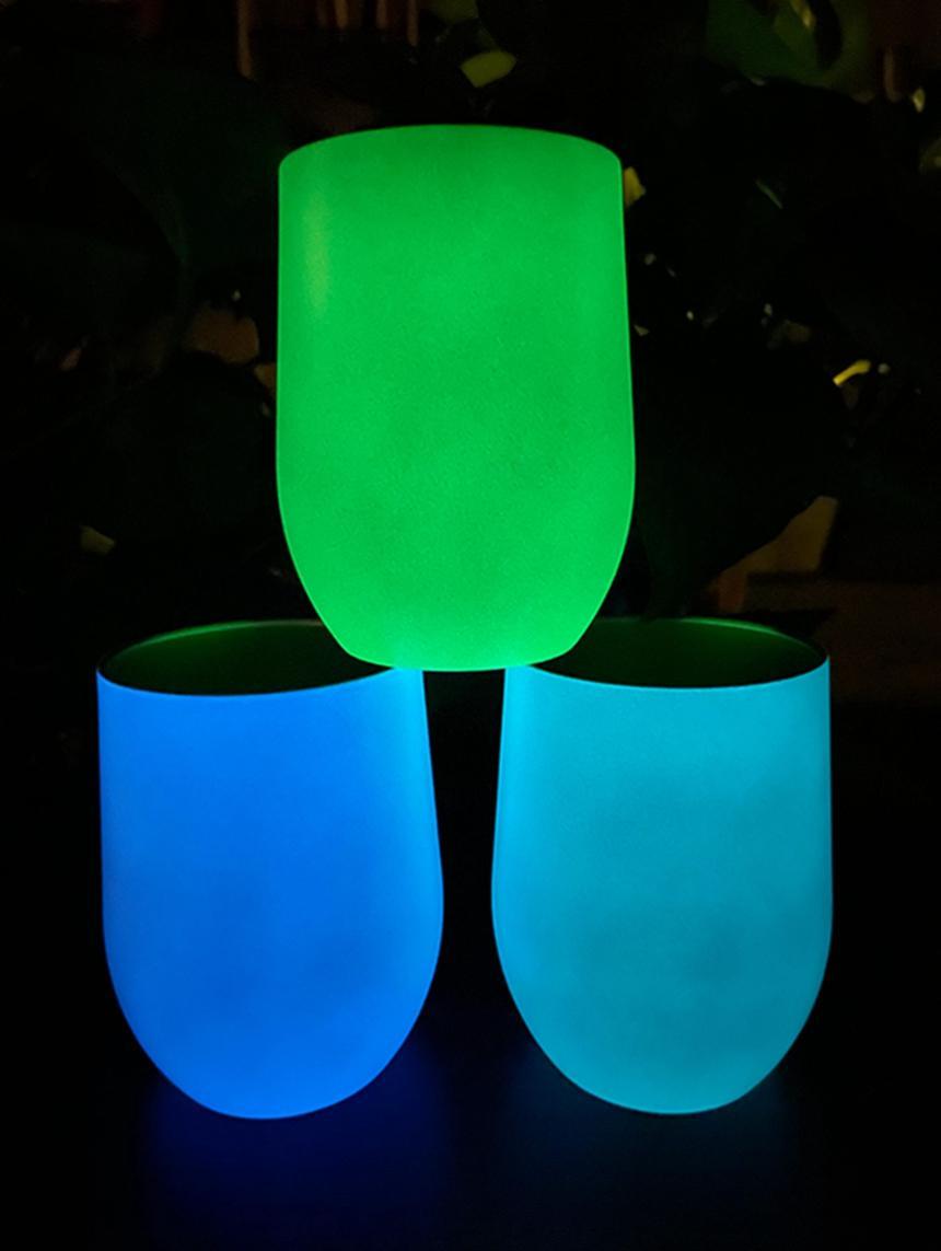 Leuchtende 20 Unzen Gerade Tumbler Dünne Tasse Licht in der Dunkelheit 12 Unzen Eierbecher Wärme Sublimation Leere Gerade Cups LLA537