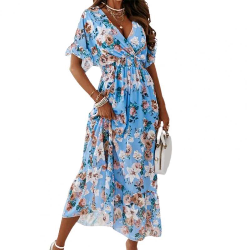캐주얼 드레스 여름 드레스 꽃 프린트 v 넥 여성 껍질을 벗 겨 헴이 해변에 대 한 탄성 허리