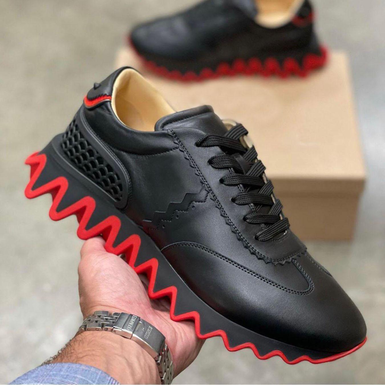 Nome Marca Homens, Mulheres Sapatos Esportivos Spiked Bottomshoes Loubishark Sneakers Flats Couro Spikes Style Andando Perfeito Amor Presente Sola Serrilhas