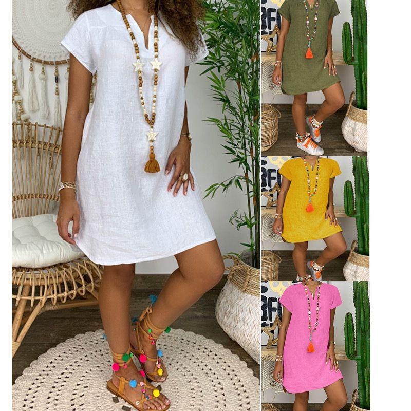 Женщины Хлопковое льняное платье с коротким рукавом 2021 летнее V-образным вырезом сплошной цвет повседневные свободные министические моды модные улицы плюс размер 5xL 210305