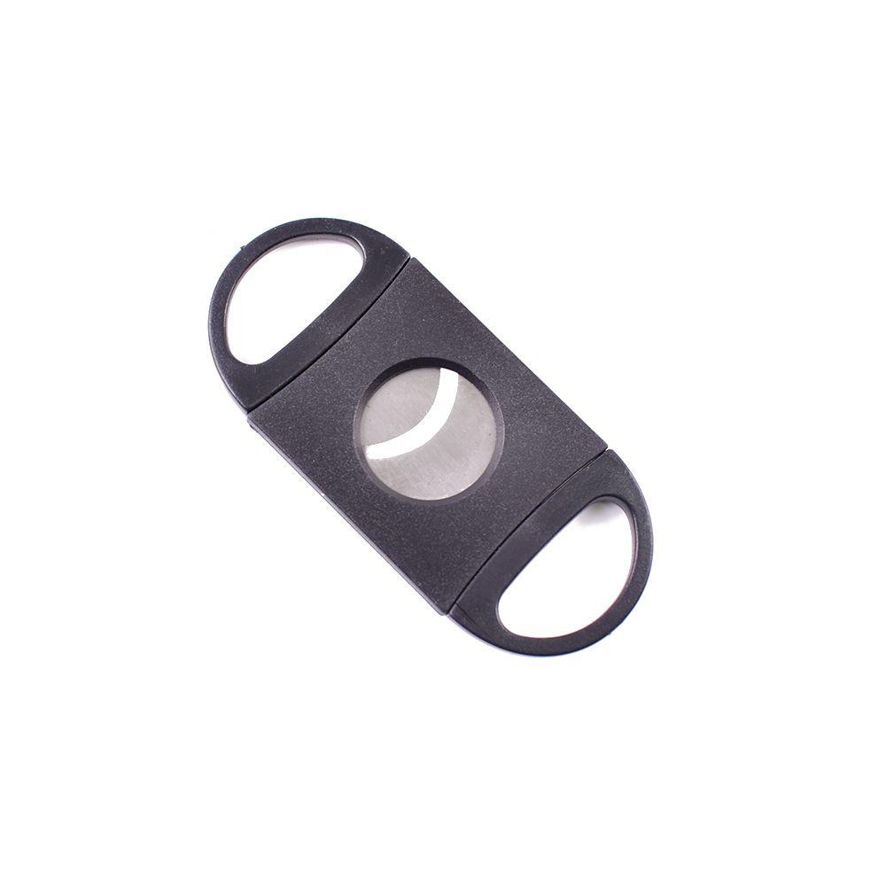 Charuto cortador de plástico de aço inoxidável lâminas duplas tesoura faca tabaco charutos ferramenta ABS Acessórios de charuto preto
