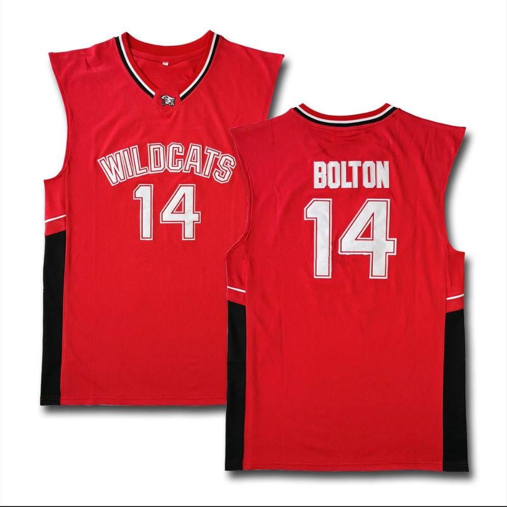 Movie Jersey High School Musical Troy Bolton 14 East High School Wildkatzen Home Rot Weiß Basketball Trikots Nähte Größe S-6XL