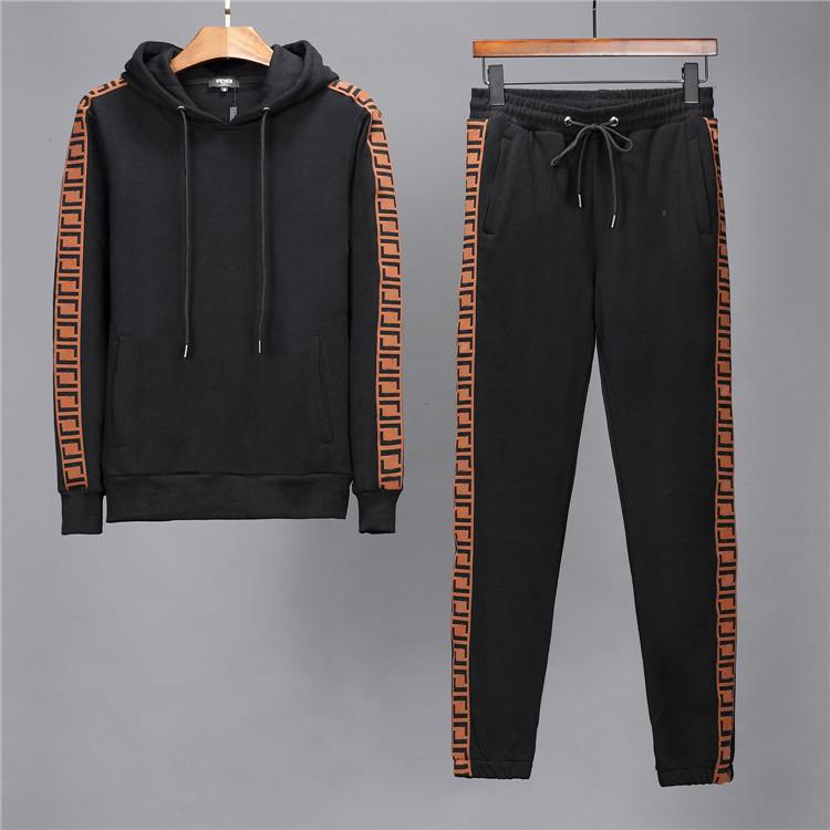 Erkekler Spor Yaz Eşofman Seti Erkek Sonbahar Kış Rahat Eşofman 2020 Yeni Moda Adam Tişörtü Mont Erkek Joggers Streetwear W99