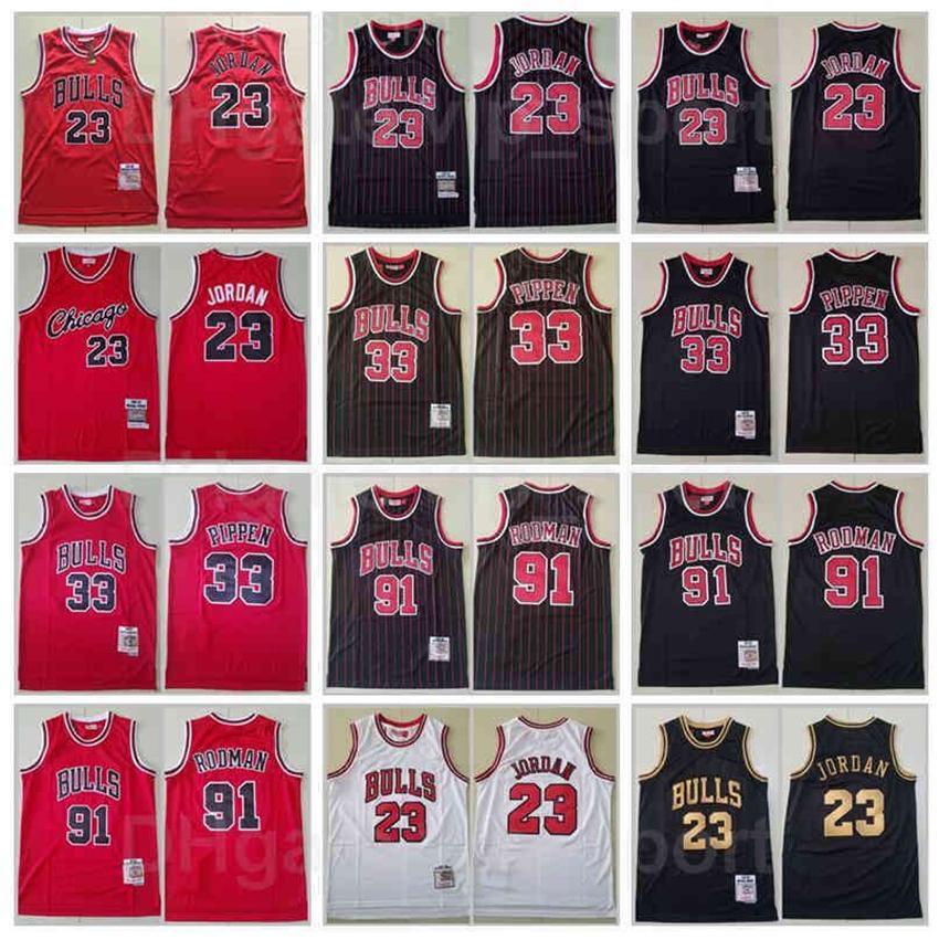 레트로 농구 Mitchell Ness Dennis Rodman Jersey 91 Scottie Pippen 33 Michael 23 빈티지 팀 레드 화이트 스트라이프 블랙 스티치 좋은 품질