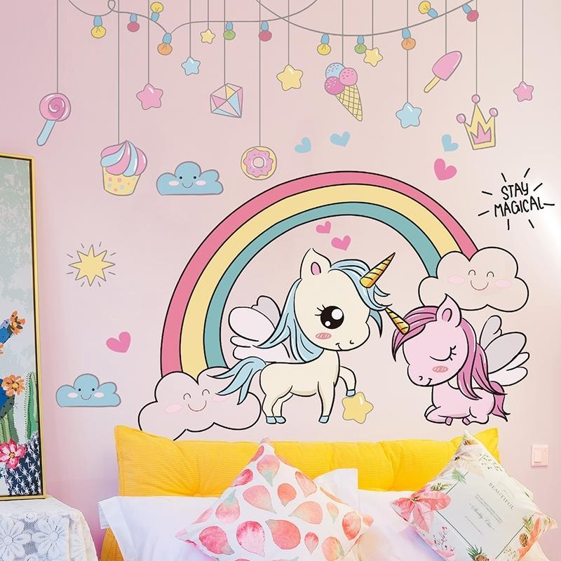 [Shijuehezi] Animales de dibujos animados pegatinas DIY Rainbow Unicornio Caballo de Caballo Calcomanías para niños Habitaciones Dormitorio para bebé Decoración del hogar 210310