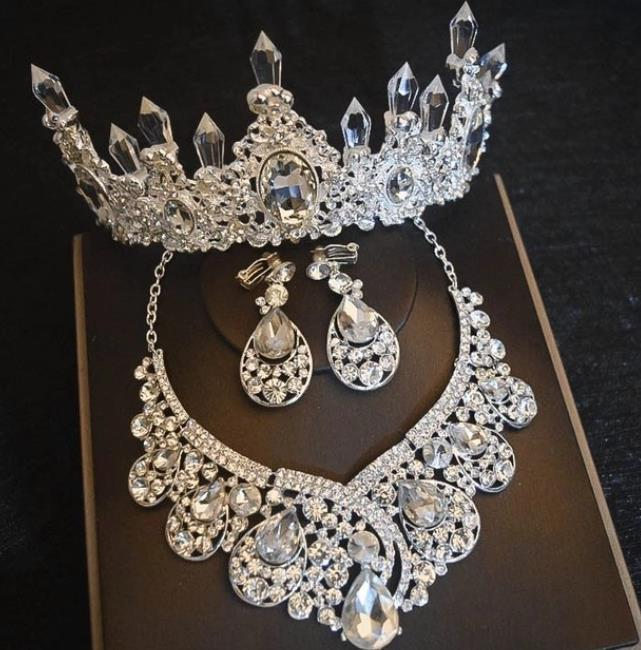 Grandes strass jóias nupciais conjuntos de prata banhado a coroa de cristal tiaras brincos de colar para acessórios de cabelo de noiva